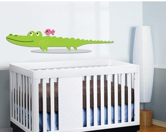 Kids vinyl wall decal Alligator and a bird OOAK