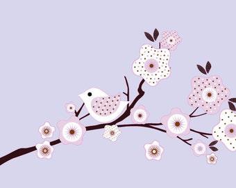 Nursery decals - Wall decals - Vinyl wall decal - Kids decals - tree branch decal - Flowers - Bird - Wall art