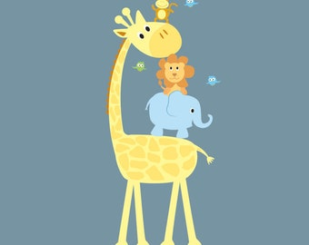 childrens removable vinyl wall decal  Elephant Giraffe Monkey Lion Birds great for any nursery kids room or playroom