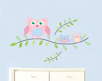 Kids tree branch vinyl wall art decal with 3 owls baby and mommy