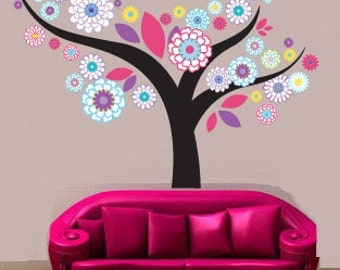 Wall decals - Flower tree - Nursery wall decal - Vinyl wall decal
