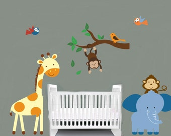 childrens removable vinyl wall decal  Elephant tall Giraffe over crib Monkey Birds with 1 tree branch great for any nursery