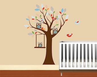 Wall decals- Owl tree- Vinyl wall tree- Nursery tree decal- Birds, Owls, Swing tree decal