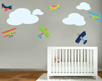 Wall decals - Vintage AirPlane decal -  Vinyl decal - Nursery wall decals - Set of 6 with clouds