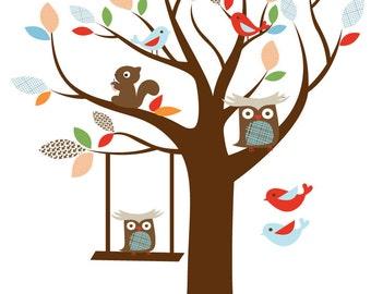 children tree decal - Nursery wall tree -  Squirrel decal - Owl tree - Vinyl wall tree - Owl on swing