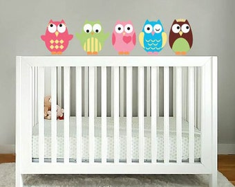 wall decals - owl decals - Kids set of 5 owls vinyl wall decal - nursery owls for crib - Vinyl decals  -  Nursery