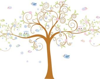Kids swirl tree with owls birds and flowers Nursery vinyl wall decal