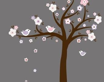 Tree with birds and flowers   nursery vinyl wall art decal