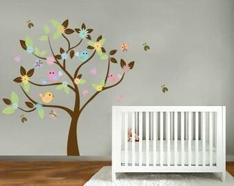 wall decals- Vinyl tree decal- Nursery tree- Bird decals- Flower tree