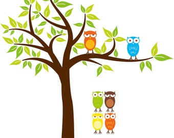 Kids Tree with 2 owls and set of 4 FREE owls you can use for tree or a branch or along a crib/bed vinyl wall decal