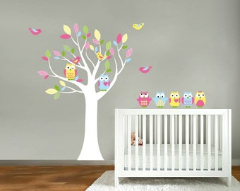 Kids tree vinyl wall decal with birds owls and pattern leaves and a set of 5 FREE owls