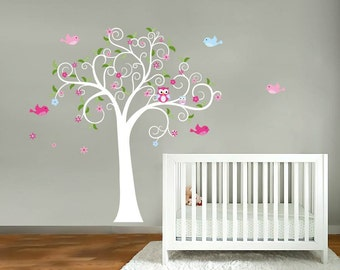 Children wall decal tree-Vinyl tree decal-Owl tree decal- Swirl tree decal- Nursery tree