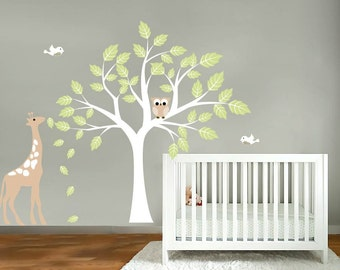 Kids tree vinyl wall art decal with birds owls giraffe