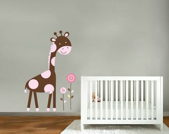 childrens removable vinyl wall art decal Giraffe set with flowers