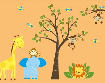 ON SALE children's vinyl wall decal- Tree decal-  tree branch- Elephant- Giraffe- Monkey- Lion- cute nursery