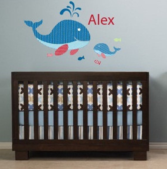 Children decal - Nursery decal -  name decal - vinyl wall decal - whale and fish decal