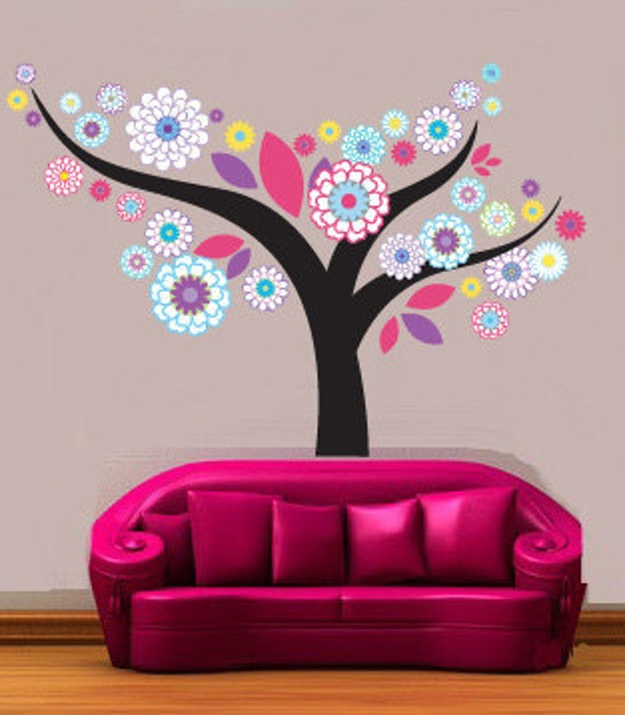 Wall decals- Flower tree- Nursery wall decal- Vinyl wall decal-