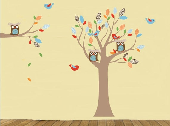 Owl tree- Vinyl tree decal- Nursery wall decals- Tree and Branch set