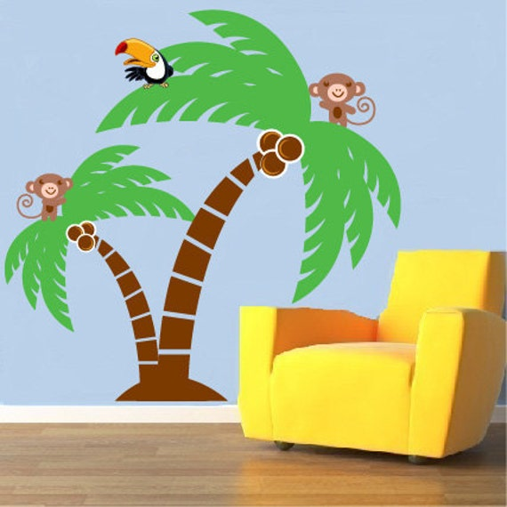 Jungle wall decal- Vinyl palm tree- Tropical wall decal- Monkey decal