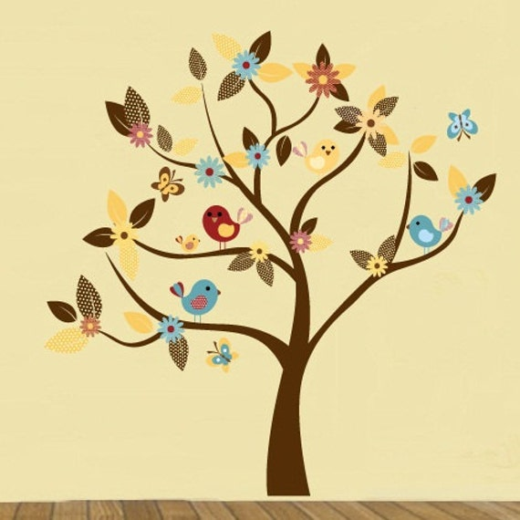 wall decals - Tree decal - Flower tree - Daisy flowers - Vinyl wall tree decal