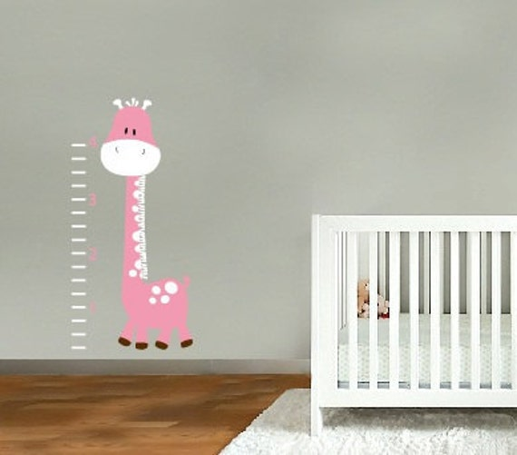 kids vinyl wall decal Betty the giraffe growth Chart great for nursery or kids room