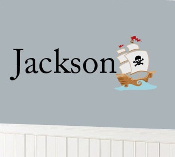 Nursery monogram decal-  name decal- Vinyl decals-  pirate ship- Children's initial decal
