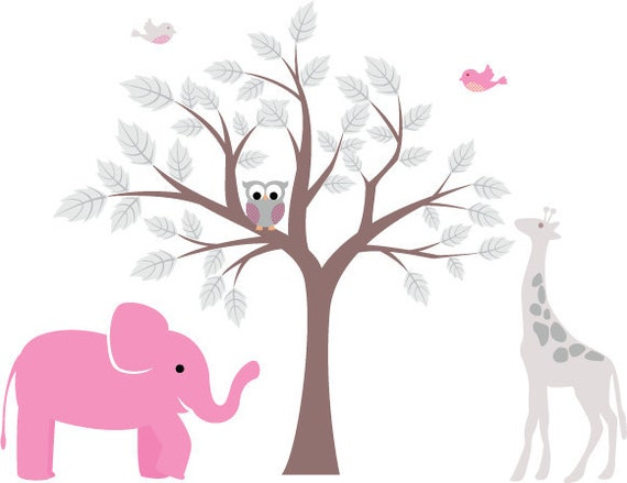 Kids tree vinyl wall decal with birds owls giraffe elephant too cute