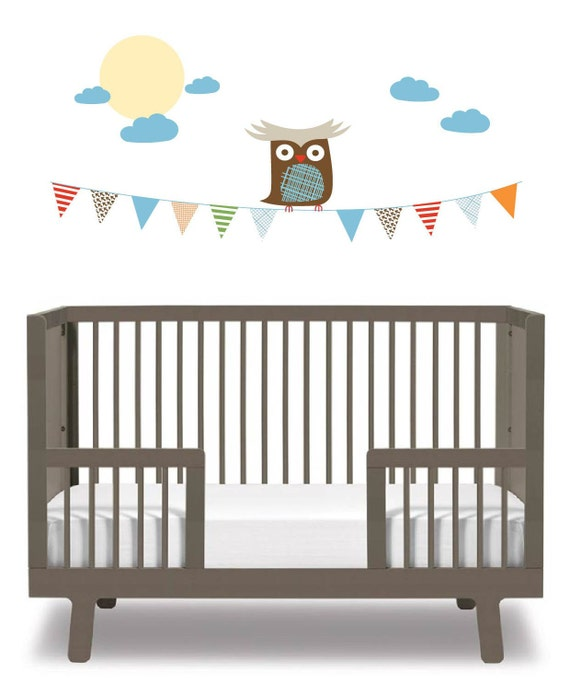 Cute owl on a banner vinyl wall decal with clouds and the moon great for any child nursery