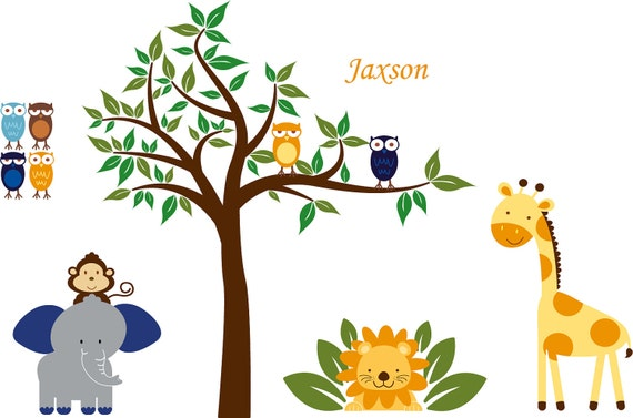 wall decals - tree decal-owl tree - jungle decals - elephant -- giraffe- lion - vinyl wall decal - 4 FREE owls