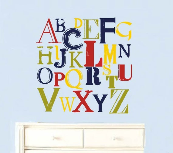 Kids Vintage Letters of the Alphabet abc can do it in any colors A-Z removable nursery vinyl wall decal