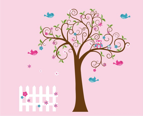 Swirl tree decal - Nursery wall decals - Wall decals - Owl tree - fence and birds