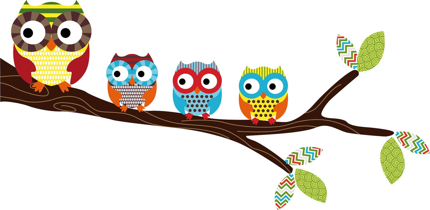 kids tree branch with a set of 4 owls vinyl wall decal