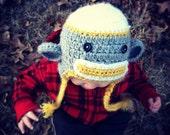 Sock Monkey Hat with Tassels