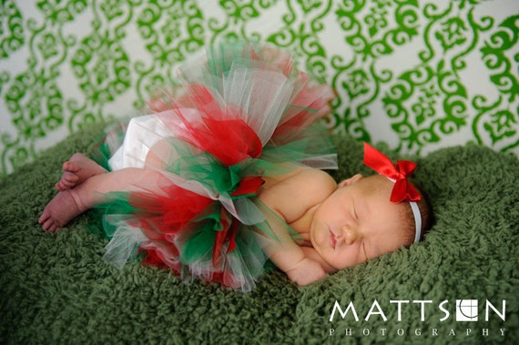 Christmas Holiday Tutu - Red Ivory White Green - Newborn Infant Baby Toddler Girl Outfit - Photography Prop - December Birthday Present
