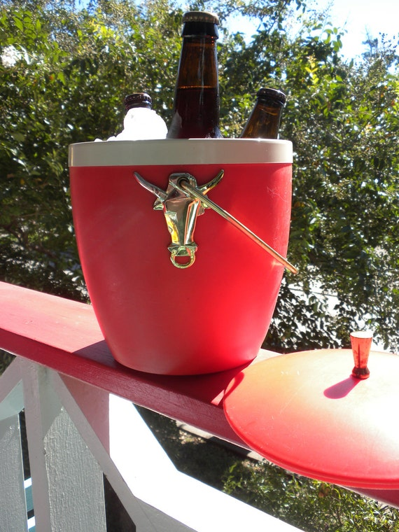 Vintage 1950s Picnic Ice Bucket in Tomato Red
