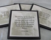 Harry Potter Coasters - Set of 4: Harry Potter Quotes with Hogwarts Castle as Background