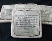 Harry Potter Coasters - Set of 4 - Quotes with Hogwarts as Background Burnt Edges Tumbled Stone