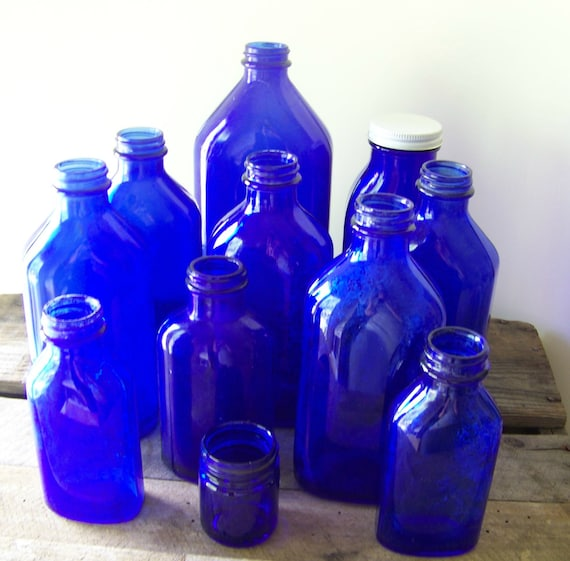 Instant Blue Glass Bottle Collection
