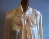 Vintage NINA RICCI Silk Blouse with Pussycat Bow