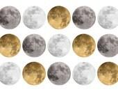 SALE Bottle Cap Images1c019 Full Moons 1 Inch Circle Digital 4x6 jpg Bottlecap Collage Sheet