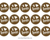 SALE 1C027 I Love Brownies 1 Inch Circle Bottle Cap Images