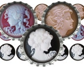 SALE Bottle Cap Images 1c064 CAMEOS 1 Inch Circle Bottle Cap Images Digital 4x6 jpg Bottle Cap Collage Sheet