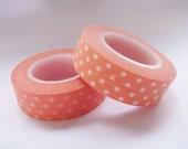 Japanese Washi Tape 1 Roll - Orange with White Dots