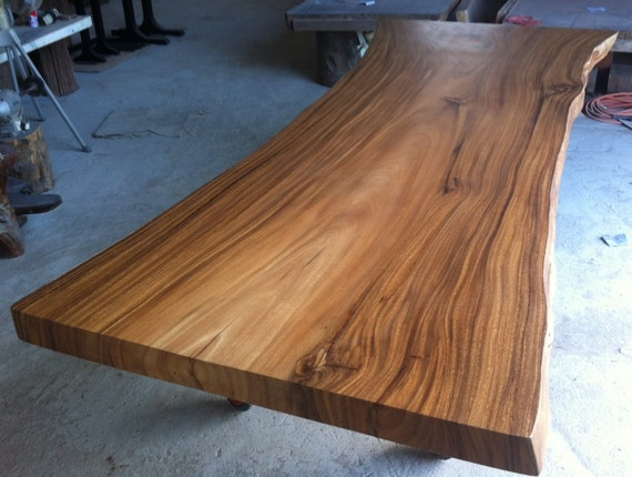 live edge dining table reclaimed acacia wood solid slab. Black Bedroom Furniture Sets. Home Design Ideas