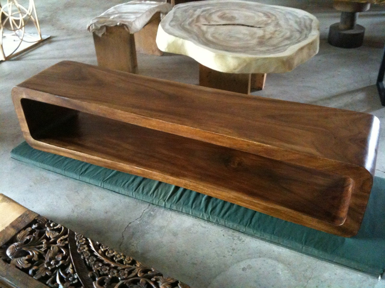 Live edge console table bench reclaimed acacia wood solid