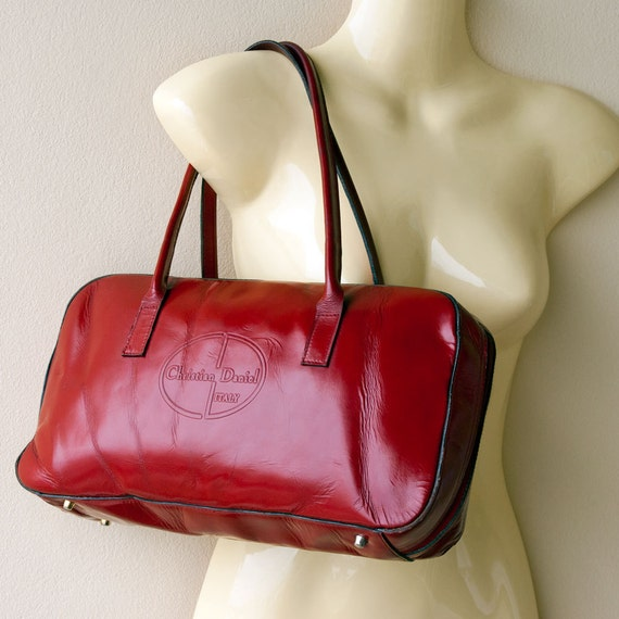 REAL VINTAGE 1970, genuine red leather handbag, red delicious, purse, Christian Daniel, Italy