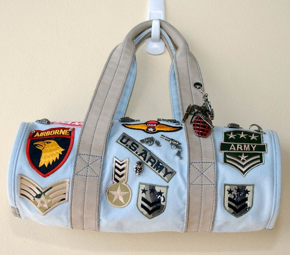 Handmade Army military themed duffle bag by Spirale Rouge