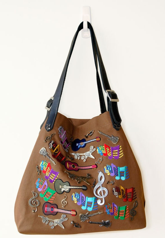 Brown canvas tote, leather shoulder straps, music theme, embroideries, ONE OF A KIND