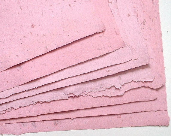 Half Price OOAK Destash. Custom A4 Rose Pink Handmade Paper. 9 Large Sheets. Eco-chic. Only One Pack Remaining.