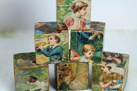 6 Vintage Victorian Children's Wood Blocks